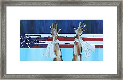 Hands Up Dont Shoot Framed Print by Aliya Michelle
