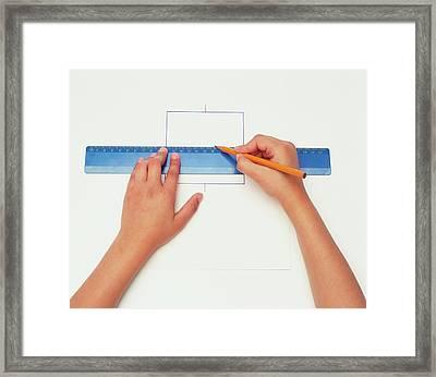 Hands Using Pencil And Ruler Framed Print by Dorling Kindersley/uig
