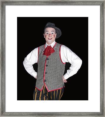 Handsome Clown At The Circus Framed Print by Susan Leggett