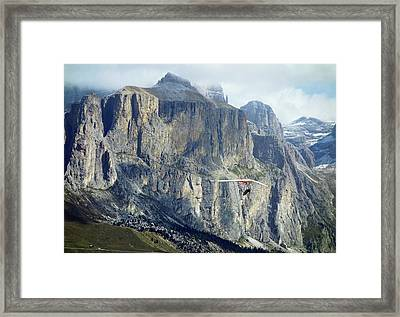 Hang Glider In The Dolomites Framed Print by Cordelia Molloy