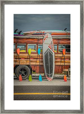 Hang Ten - Vintage Woodie Surf Bus - Florida - Hdr Style Framed Print by Ian Monk