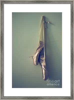 Hanging Ballet Slippers Framed Print by Diane Diederich
