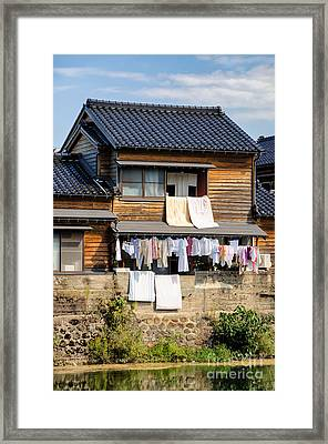 Hanging Out To Dry - Laudry Day In Japan Framed Print by David Hill