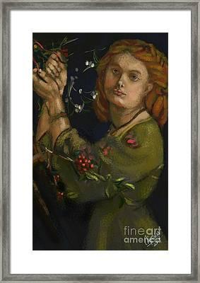 Hanging The Mistletoe Framed Print by Carrie Joy Byrnes