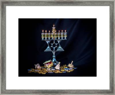 Hanukkiyah Framed Print by Mark Perelmuter