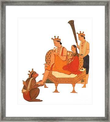 Hanuman Worshipping Rama Framed Print by Photo Researchers