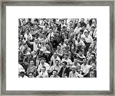 Happy Baseball Fans In The Bleachers At Yankee Stadium. Framed Print by Underwood Archives