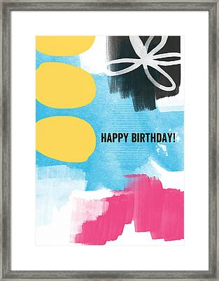 Happy Birthday- Colorful Abstract Greeting Card Framed Print by Linda Woods