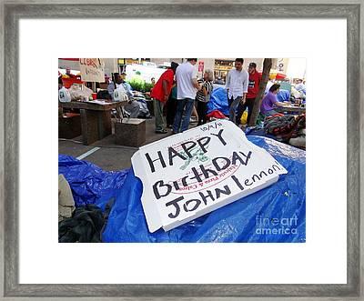 Happy Birthday John Lennon Framed Print by Ed Weidman
