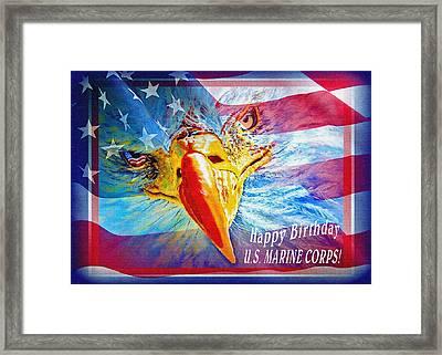 Happy Birthday Marine Corps Framed Print by Donna Proctor