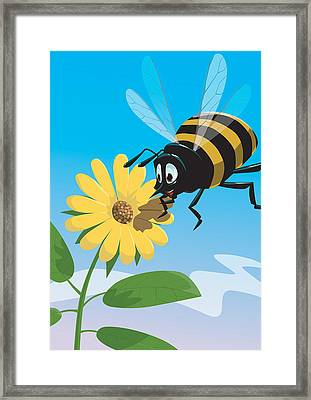 Happy Cartoon Bee With Yellow Flower Framed Print by Martin Davey