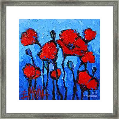 Happy Coquelicots Framed Print by Mona Edulesco