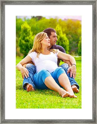 Happy Couple Awaiting Baby Framed Print by Anna Omelchenko