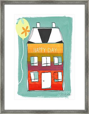 Happy Day Card Framed Print by Linda Woods