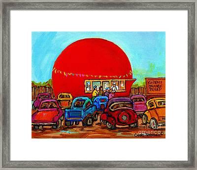 Happy Days At The Gibeau Orange Julep Montreal Landmark Antique Cars Carole Spandau Framed Print by Carole Spandau