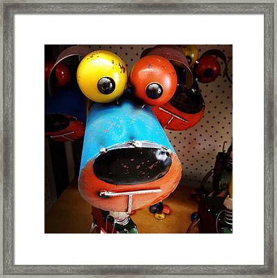 Happy Dog Framed Print by Les Cunliffe