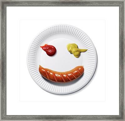 Happy Food Face Framed Print by Smetek