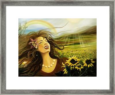 Happy Framed Print by Gina De Gorna