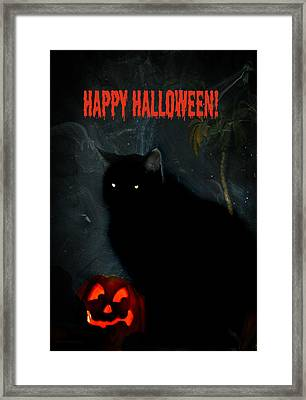 Happy Halloween Black Cat Framed Print by Michelle Frizzell-Thompson