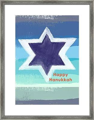 Happy Hanukkah Card Framed Print by Linda Woods