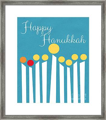 Happy Hanukkah Menorah Card Framed Print by Linda Woods