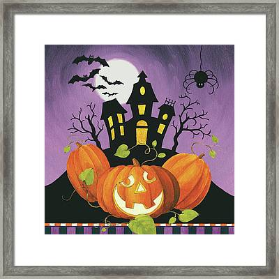 Happy Haunting House On Pumpkins Framed Print by Lisa Audit