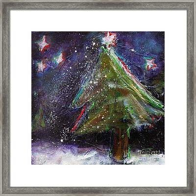 Happy Holidays Red And Blue Wishing Stars Framed Print by Johane Amirault