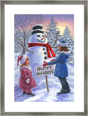 Happy Holidays Framed Print by Richard De Wolfe