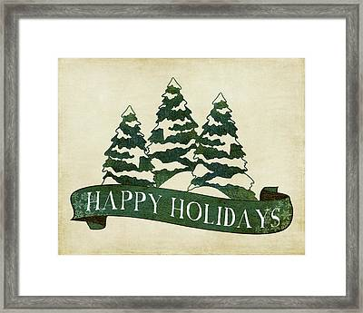 Happy Holidays Tree Framed Print by Amy Cummings