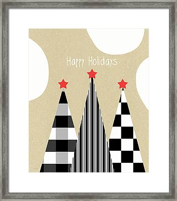 Happy Holidays With Black And White Trees Framed Print by Linda Woods