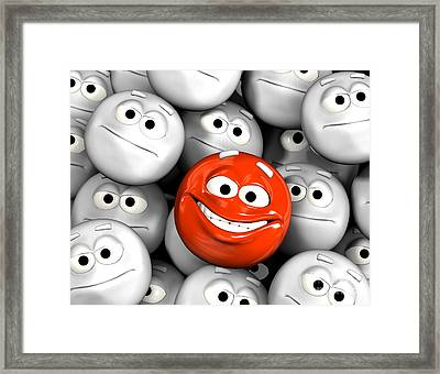 Happy Laughing Emoticon Face Among Others Framed Print by Michal Bednarek