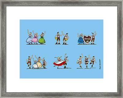 Happy Oktoberfest Cartoon People Framed Print by Frank Ramspott