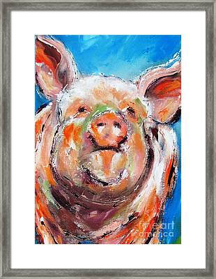 Happy Piglet -ideal Painting For Kitchen Framed Print by Mary Cahalan Lee- aka PIXI