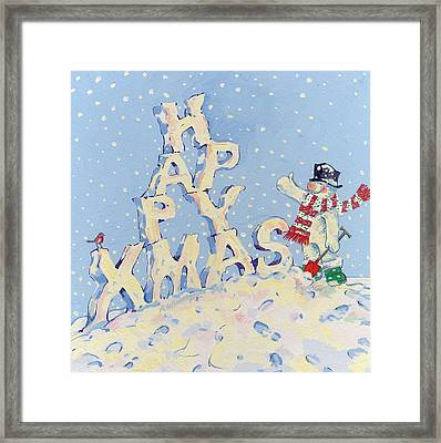 Happy Snowman Framed Print by David Cooke