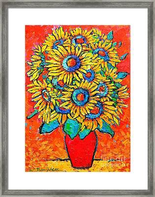 Happy Sunflowers Framed Print by Ana Maria Edulescu