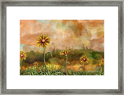 Happy Sunflowers Framed Print by Bedros Awak