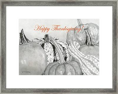 Happy Thanksgiving- Autumn Harvest Framed Print by Sarah Batalka