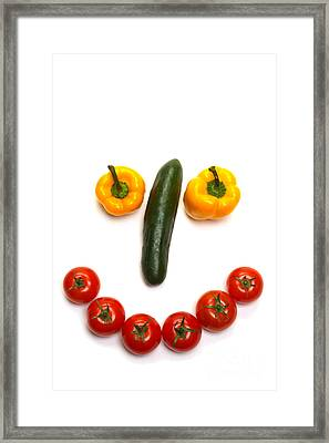 Happy Veggie Face Framed Print by Olivier Le Queinec