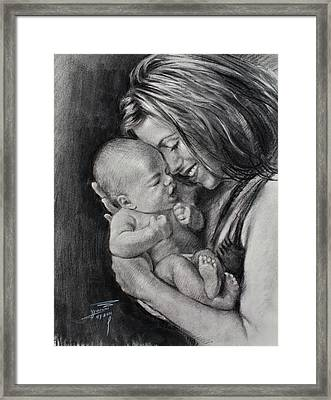 Happy Young Mother Framed Print by Ylli Haruni