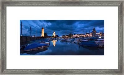 Harbor At Dusk, Lindau, Lake Constance Framed Print by Panoramic Images
