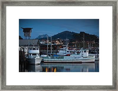 Harbor At Dusk, Morro Bay, California Framed Print by Panoramic Images