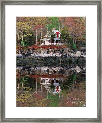 Harbor House Reflected Framed Print by Jim Block