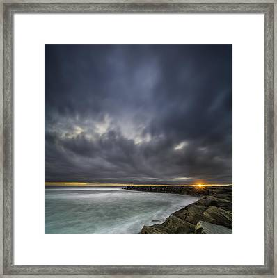 Harbor Jetty Sunset - Square Framed Print by Larry Marshall