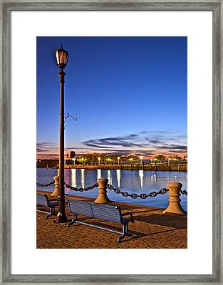 Harbor Lights Framed Print by Frozen in Time Fine Art Photography
