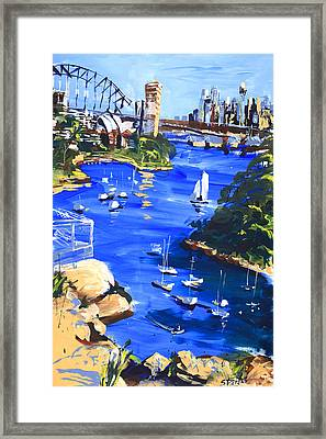 Harbour In Sun And Wind Framed Print by Shirley  Peters