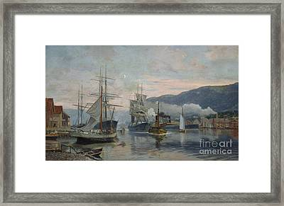 Harbour Subject From A Southern City Framed Print by Nils Hansteen