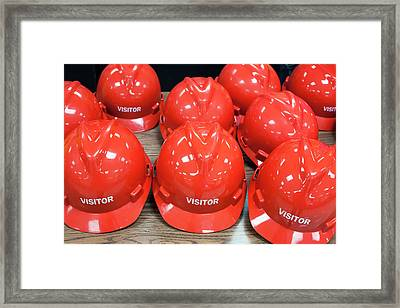 Hard Hats For Visitors Framed Print by Jim West