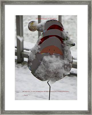 Hardworking Santa Framed Print by Sonali Gangane