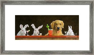 Hare Of The Dog With A Young Blonde... Framed Print by Will Bullas
