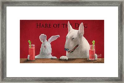 Hare Of The Dog...the Bull Terrier.. Framed Print by Will Bullas